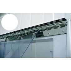 PVC curtains - 200x2mm (8″x0.08″) PVC strips opaque white overlap one hook - 35% - 3,5cm - 1.4″ - price based on m2