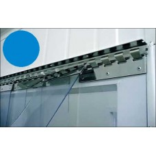 PVC curtains - 200x2mm (8″x0.08″) PVC strips clear blue overlap one hook - 35% - 3,5cm - 1.4″ - price based on m2