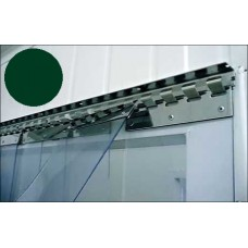 PVC curtains - 200x2mm (8″x0.08″) PVC strips clear dark green overlap one hook - 35% - 3,5cm - 1.4″ - price based on m2