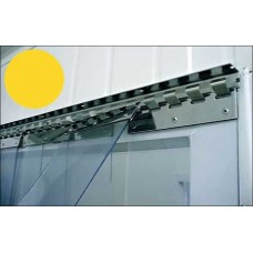 PVC curtains - 200x2mm (8″x0.08″) PVC strips clear yellow insecticide overlap one hook - 35% - 3,5cm - 1.4″ - price based on m2