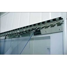 "PVC strip curtains - clear 100x1.2mm (4″x0.047″) PVC strips polar grade overlap one hook - 34% - 1.7cm - 0.67"" - price based on m2"